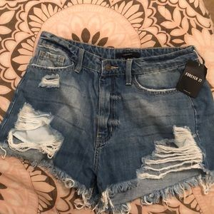 These are forever 21 denim cut shorts.